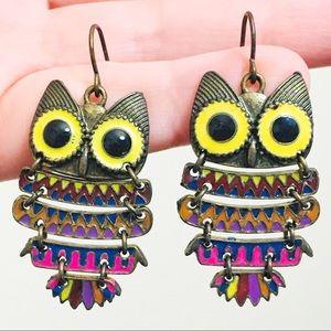 Vintage colorful dangling owl earrings